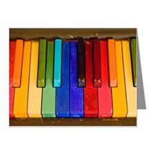 Rainbow piano keyboard Note Cards (Pk of 20)