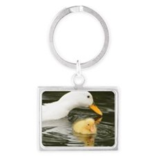 White duck and her duckling Landscape Keychain