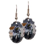 Clothes 'seated' on bench in ci Earring Oval Charm