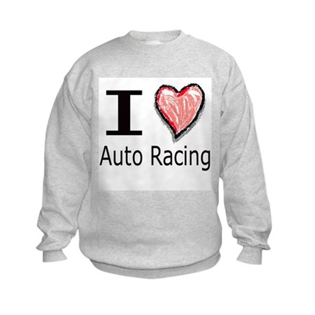 I Heart Auto Racing Kids Sweatshirt