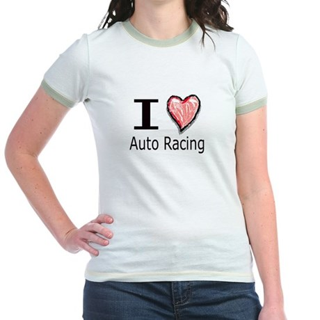 I Heart Auto Racing Jr. Ringer T-Shirt