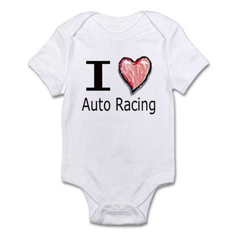 I Heart Auto Racing Infant Bodysuit