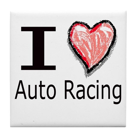 I Heart Auto Racing Tile Coaster
