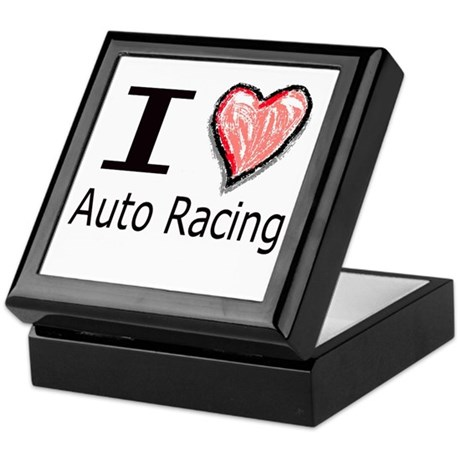 I Heart Auto Racing Keepsake Box