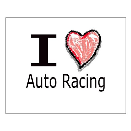 I Heart Auto Racing Small Poster