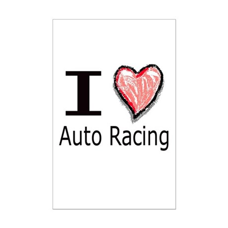 I Heart Auto Racing Mini Poster Print
