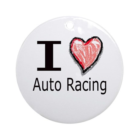 I Heart Auto Racing Ornament (Round)