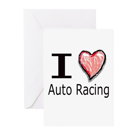 I Heart Auto Racing Greeting Cards (Pk of 10)