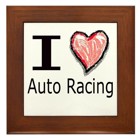 I Heart Auto Racing Framed Tile