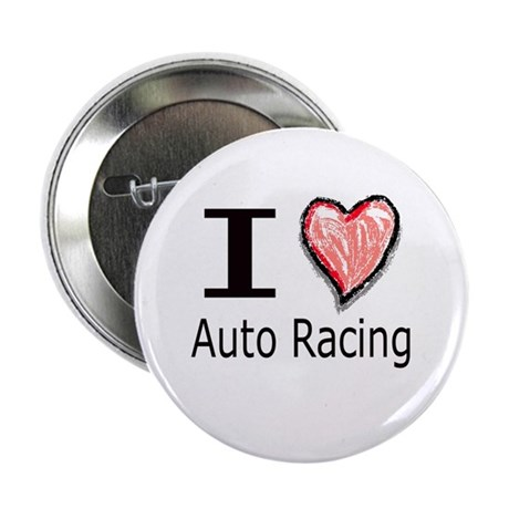 I Heart Auto Racing Button