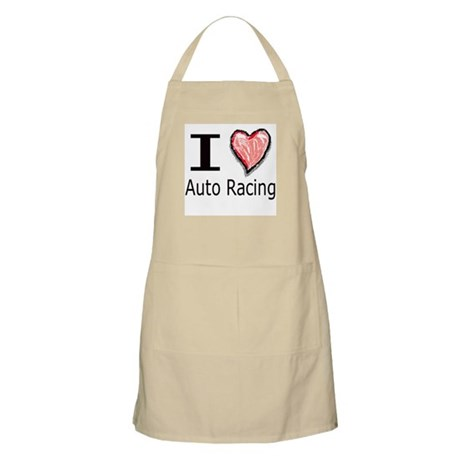 I Heart Auto Racing BBQ Apron