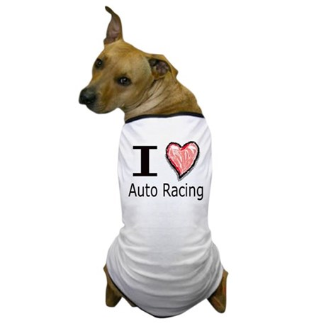I Heart Auto Racing Dog T-Shirt