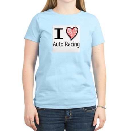 I Heart Auto Racing Women's Pink T-Shirt