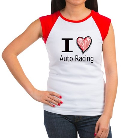 I Heart Auto Racing Women's Cap Sleeve T-Shirt