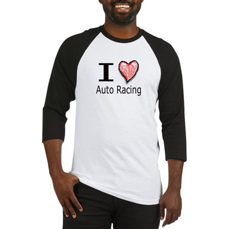 I Heart Auto Racing Baseball Jersey