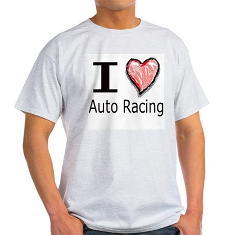 I Heart Auto Racing Ash Grey T-Shirt