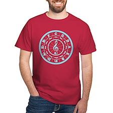 Blue Circle of Fifths Black T-Shirt