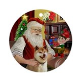 Santa's Shiba Inu Ornament (Round)