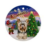 Santa's Take Off and Yorkie (17) Ornament (Round)