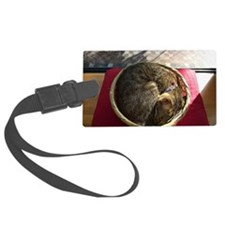 A cat in the rattan basket Luggage Tag