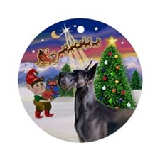 Santa's Take Off Blue Great Dane Ornament (Round)