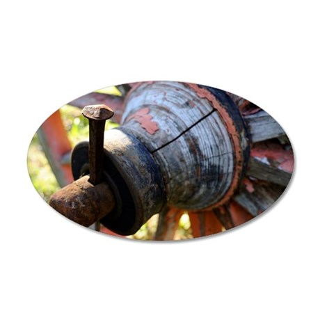 Wood wheel detail of an old  35x21 Oval Wall Decal