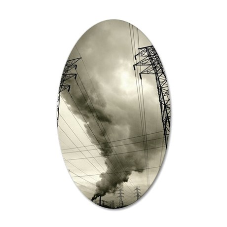 Steam from Coal-Burning Powe 35x21 Oval Wall Decal