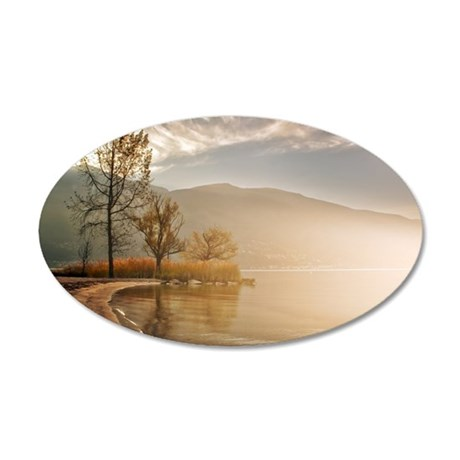 Early morning fog at Lake Ma 35x21 Oval Wall Decal