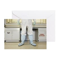 Scientist in protective wear standin Greeting Card