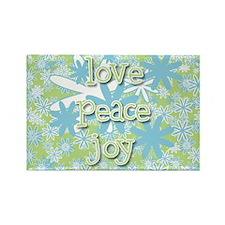 Love, Peace, Joy Retro Rectangle Magnet