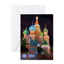 Saint Basil's Cathedral on red squar Greeting Card