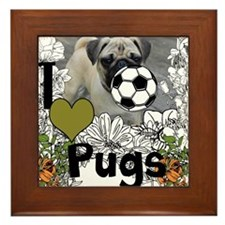 The Pony Cafe I Love Pugs Framed Tile