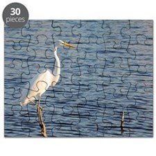 Great white egret, Ardea alba, perched on d Puzzle