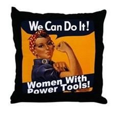 Women with Power Tools Throw Pillow