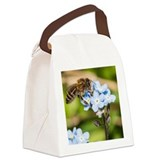 Small bee collecting pollen from  Canvas Lunch Bag