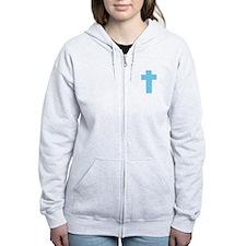blue Cross Zip Hoodie