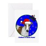 SANTA PAWS Whippet Greeting Cards (Pk of 10)