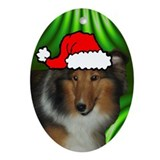 SANTA PAWS Sheltie Ornament (Oval)