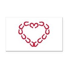 Horseshoe red heart Rectangle Car Magnet
