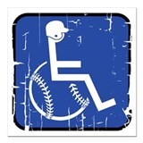 "Handicapable Baseball Square Car Magnet 3"" x 3"""