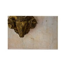 Sculpture of Ram's Head on Wall Rectangle Magnet