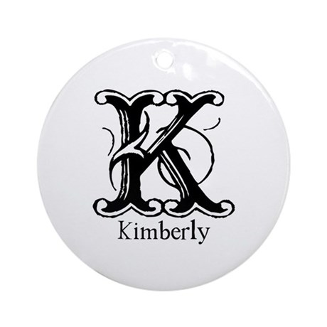 Kimberly: Fancy Monogram Ornament (Round)
