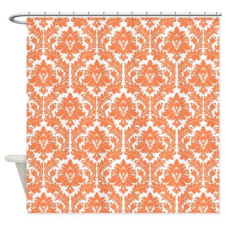 Gt damask bathroom d 233 cor gt nectarine orange damask shower curtain