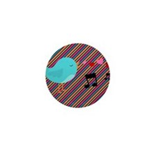 Singing Blue Bird on Stripes Mini Button (10 pack)
