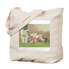 Cute Knitting kitty Tote Bag