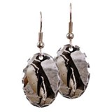 Happy penguin on beach at Isla  Earring Oval Charm