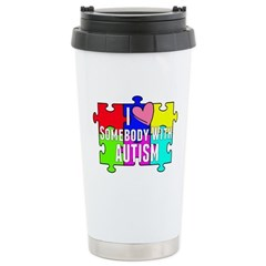 I Heart (love) Somebody With Autism Travel Mug