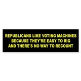VOTING MACHINES... Bumper Bumper Sticker