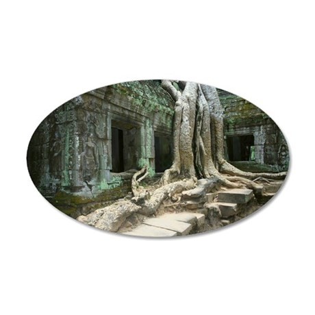 Roots growing over a temple, 35x21 Oval Wall Decal