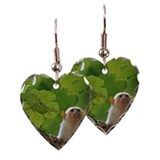 Curious Tamarin monkey on tree Earring Heart Charm